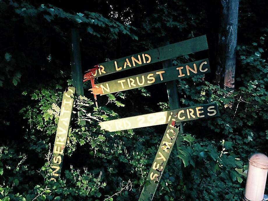 Vandals destroyed a sign at Seymour Land Trust's recreation area. Photo: Contributed Photo