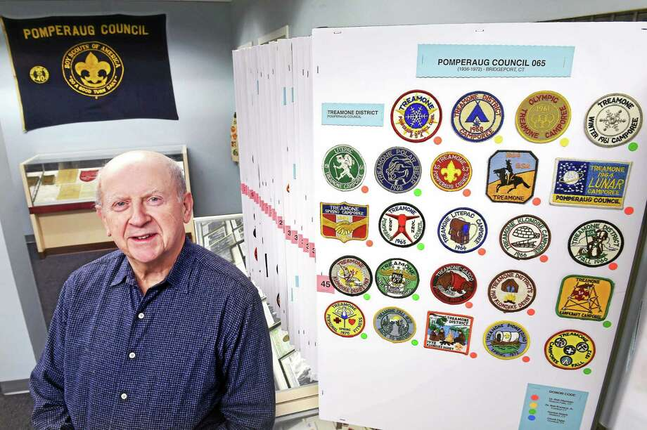 Bob Sherman, secretary of the Southwestern Connecticut Scouting Heritage Museum, is photographed with some of the exhibits at the museum in Milford. Photo: Arnold Gold — New Haven Register
