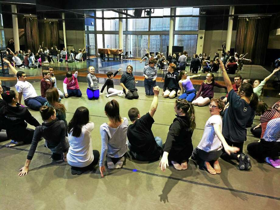 Brad Roth, center at rear, leads a Shared Ability circle of dancers at a class. The New Haven Ballet program culminates in a May 9 performance. Photo: Contributed