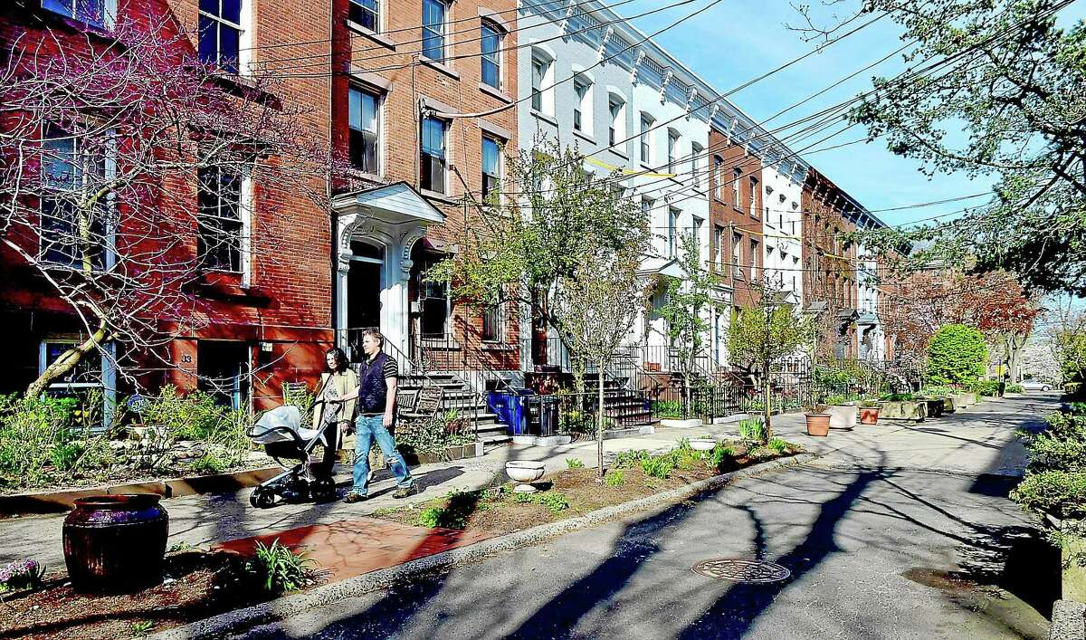 The rowhouses on Court Street in New Haven, Thursday, April 30, 2015.