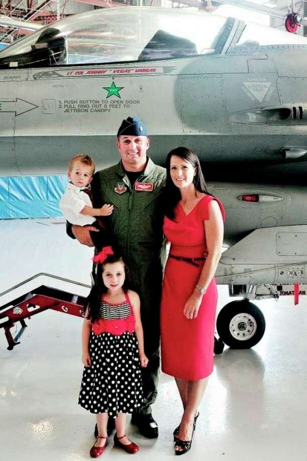 Col. John E. Vargas Jr. with his wife, Krystal, son, Jackson, and daughter, Isabella. Vargas was recently named commander of the 113th Operations Group District of Columbia Air National Guard.
