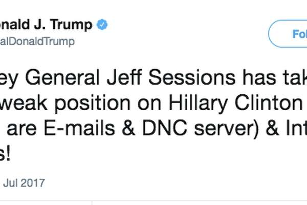 Trump tweets about Jeff Sessions