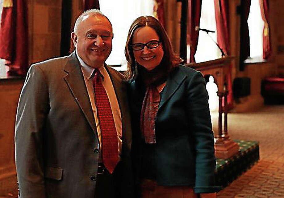 Miles Rapoport and Secretary of the State Denise Merrill Photo: Journal Register Co.