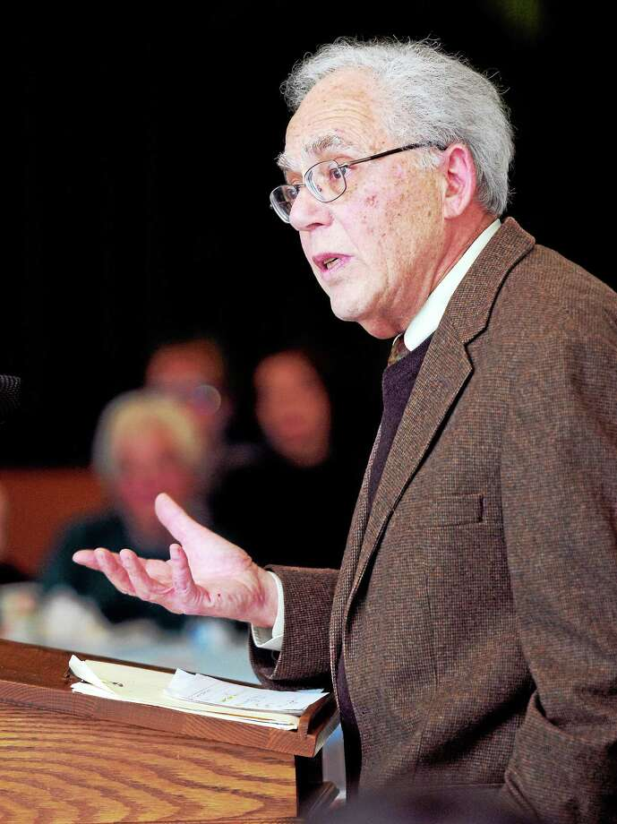 Dr. Julius Landwirth speaks at a forum on physician-assisted dying at the Holy Infant Roman Catholic Church in Orange on 3/30/2014. Photo: (Arnold Gold-New Haven Register)