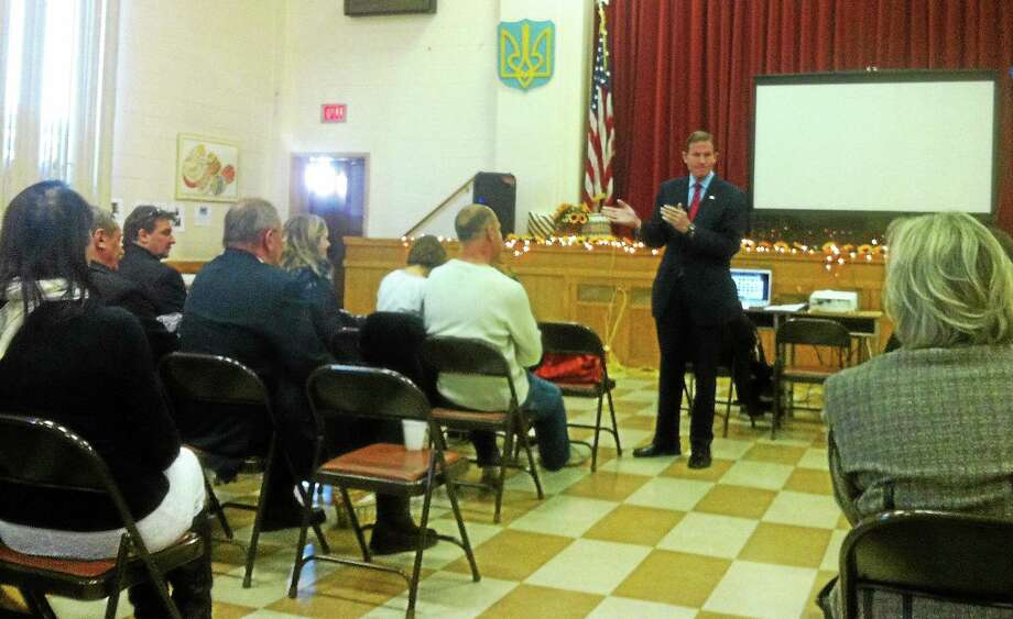 Sen. Blumenthal talks about U.S.-Russian relations in St. Mary's Ukrainian Church basement Sunday. Photo: Kate Ramunni -- New Haven Register