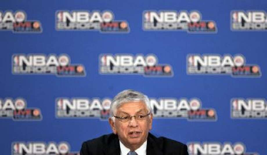 In this Oct. 11, 2007, file photo, NBA Commissioner David Stern talks during an NBA Europe basketball news conference in Madrid.