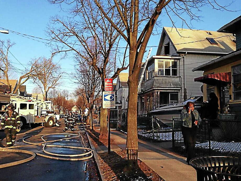 Fire under control on Dorman Street. Photo: Rich Scinto/New Haven Register