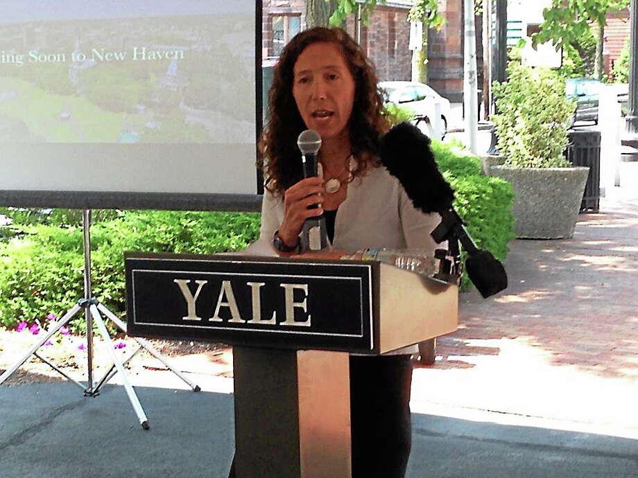 Lauren Zucker of Yale University Properties announces Kiko Milano and Emporium DNA 2050 coming to 1 Broadway in New Haven. Photo: Journal Register Co.