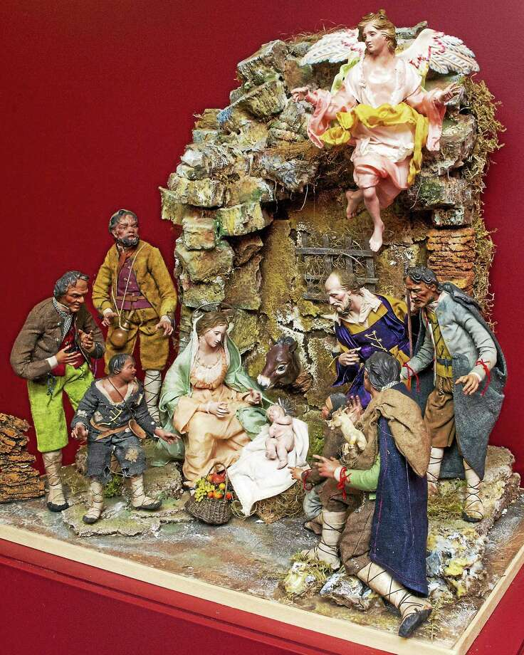 """""""Nativity in a Rock Setting,"""" is one of eight Neapolitan crèches designed by Naples-based Bottega D'Arte Presepiale Cantone & Costabile on display as part of the Knights of Columbus Museum's annual Christmas exhibition. Photo: Knights Of Columbus   / (c)KNIGHTS OF COLUMBUS"""