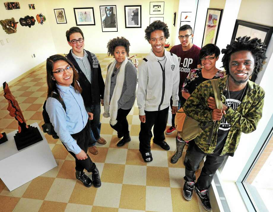 (Mara Lavitt ó New Haven Register)   March 28, 2014 New Haven  Some students at New Haven's Co-Operative Arts and Humanities High School will be receiving Talent Haven scholarships. They are from left: FlavioEspinoza, Jeremey (cq) Lombard, Ellyana Simon,  Anthony Wells, Luis Ramos, Rachel Knight and Mychael Green.  mlavitt@newhavenregister.com Photo: Journal Register Co. / Mara Lavitt