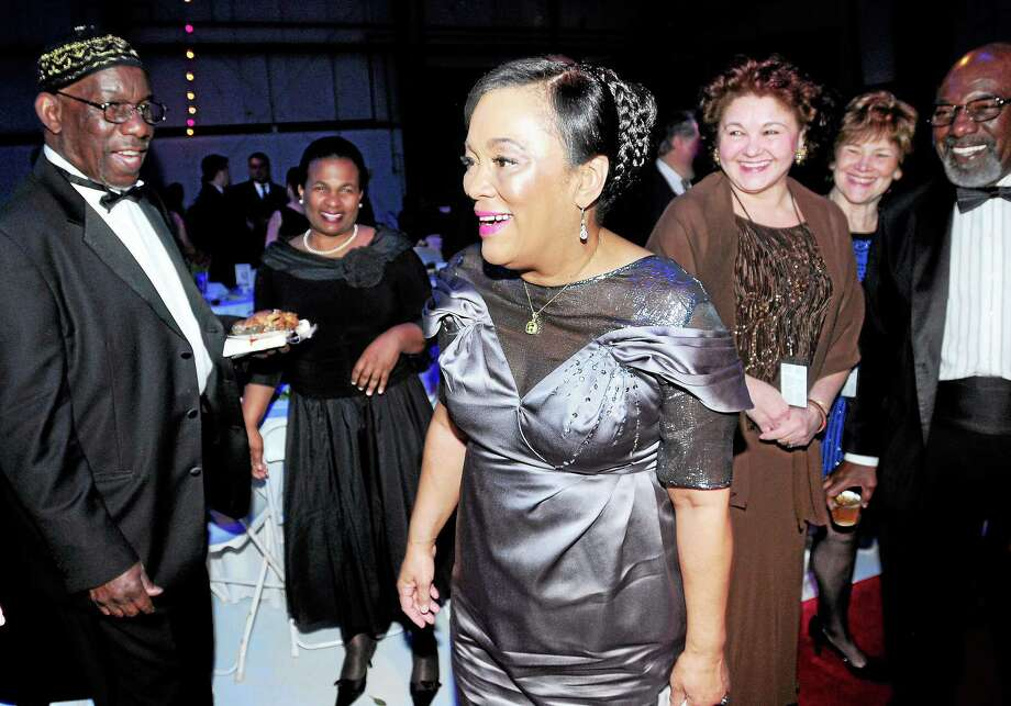 (Arnold Gold-New Haven Register)  New Haven Mayor Toni N. Harp (center) is the center of attention as she enters her Inaugural Ball at Tweed New Haven Regional Airport on 3/29/2014. Photo: Journal Register Co.