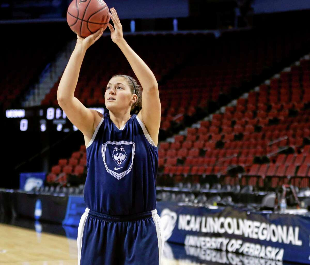 UConn's Stefanie Dolson shoots during practice in Lincoln, Neb., for Saturday's game against BYU.