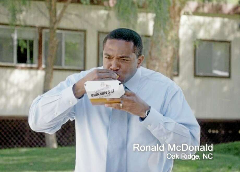 This frame grab from video provided by Taco Bell via Taylor Strategy shows Ronald McDonald of Oak Ridge, N.C., in a Taco Bell commercial. The fast-food chain will begin airing ads Thursday that feature everyday men who happen to have the same name as the McDonald's mascot. The marketing campaign is intended to promote Taco Bell's new breakfast menu, which features novelties like a waffle taco. Photo: Associated Press   / Taco Bell via Taylor Strategy