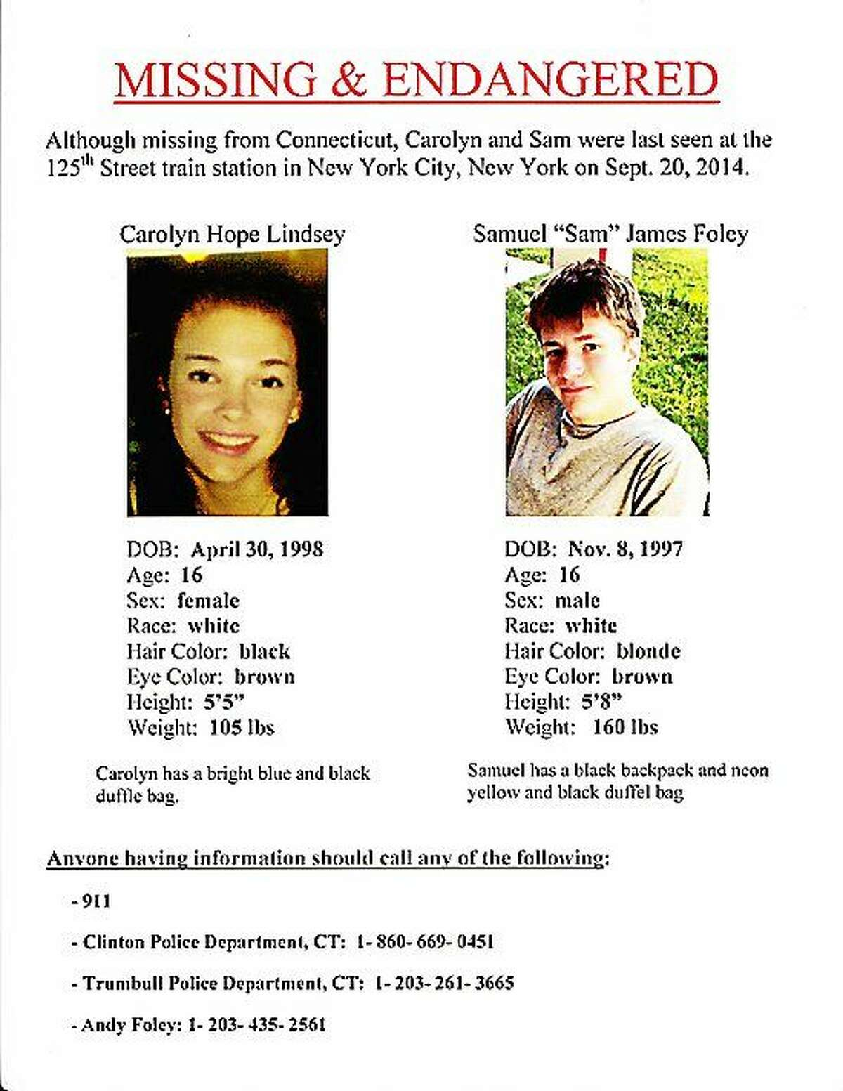 The poster that the families circulated after both teens, Carolyn Hope Lindsey and Sam James Foley ran away.