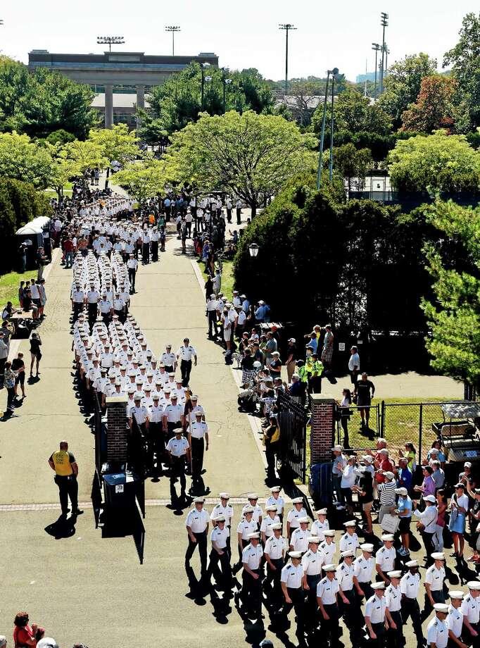 United States Military Academy cadets march into Yale Bowl Saturday. Photo: Peter Hvizdak — Register   / ©2014 Peter Hvizdak