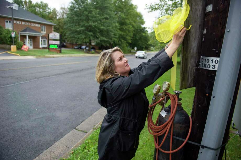 Julie Lowe places a yellow ribbon on a utility pole in the Stratford Landing neighborhood Thursday, Sept. 25, 2014, in Alexandria, Va. where missing University of Virginia student Hannah Graham grew-up, and her parents still live.  Jesse Leroy Matthew Jr., 32, charged with abducting Graham in Charlottesville, Va., was captured in Texas on Wednesday, Sept. 24, 2014, and is awaiting extradition ó but there is still no sign the 18-year-old student who went missing Sept. 13, authorities said. (AP Photo/Cliff Owen) Photo: AP / FR170079 AP