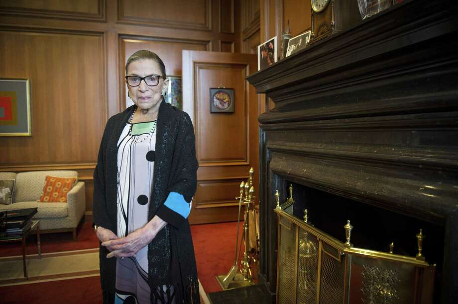 FILE - This July 31, 2014, file photo shows Supreme Court Justice Ruth Bader Ginsburg in her Supreme Court chambers in Washington. Supreme Court Justice Ruth Bader Ginsburg has undergone a surgical procedure to place a stent in her right coronary artery. Court spokeswoman Kathy Arberg says the 81-year-old Ginsburg had the procedure Wednesday morning after a coronary blockage was discovered. (AP Photo/Cliff Owen, File) Photo: AP / FR170079 AP
