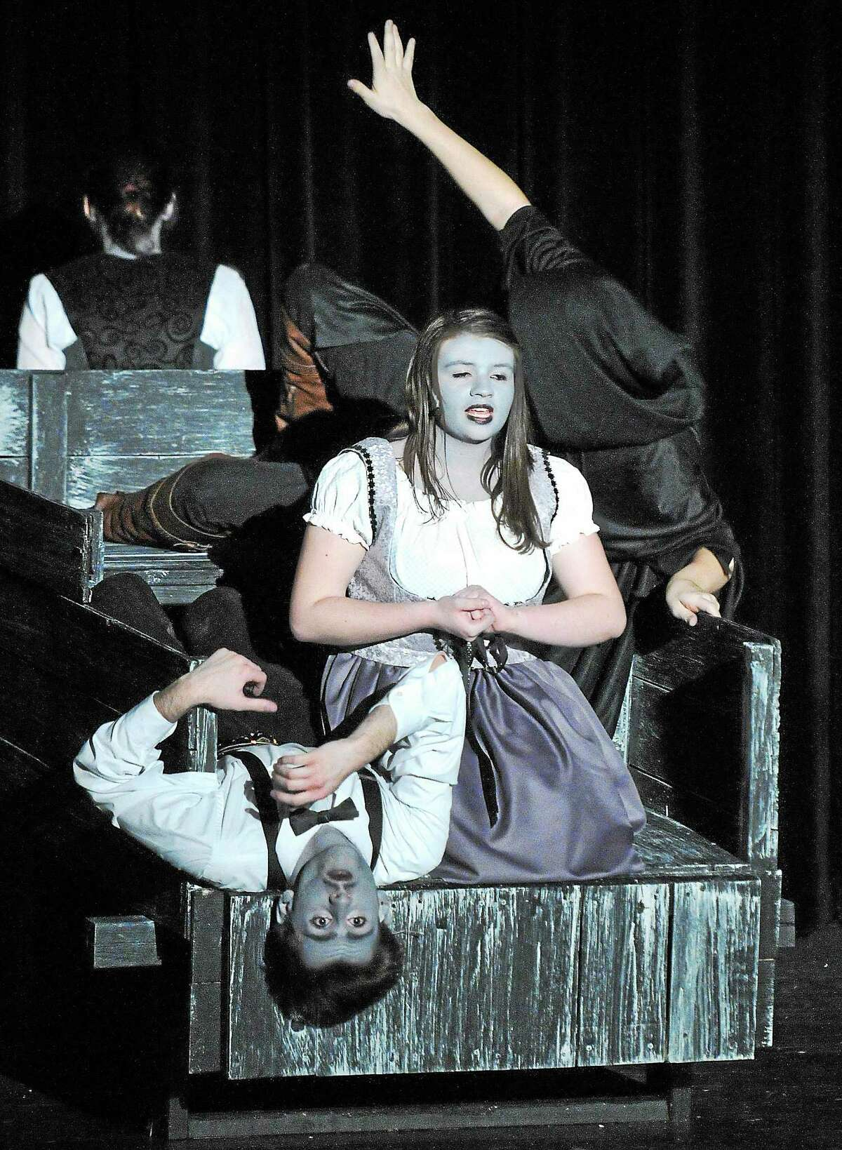 """Freshmen Brandon Butler as """"Dr. Frankenstein"""" and Jamie Hribko as """"Inga"""" work on a scene as students at East Haven High School work on their upcoming production of """"Young Frankenstein."""""""
