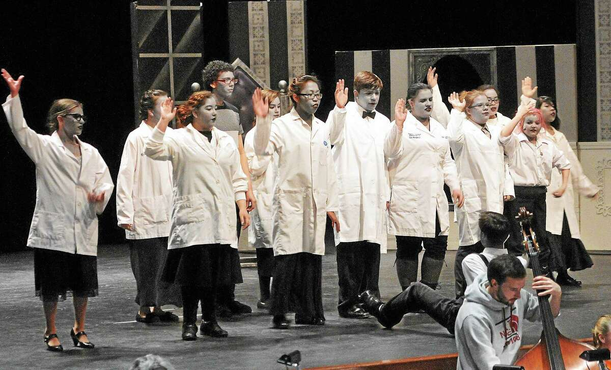 """Students at East Haven High School work on their upcoming production of """"Young Frankenstein."""""""