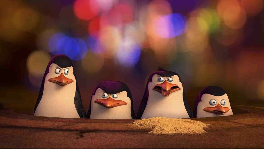 "Kowalski, voiced by Chris Miller, Skipper voiced by Tom McGrath, Rico, voiced by Conrad Vernon and Private voiced by Christpher Knights reporting for duty in ""The Penguins of Madagascar."" Photo: DreamWorks Animation   / DreamWorks Animation"