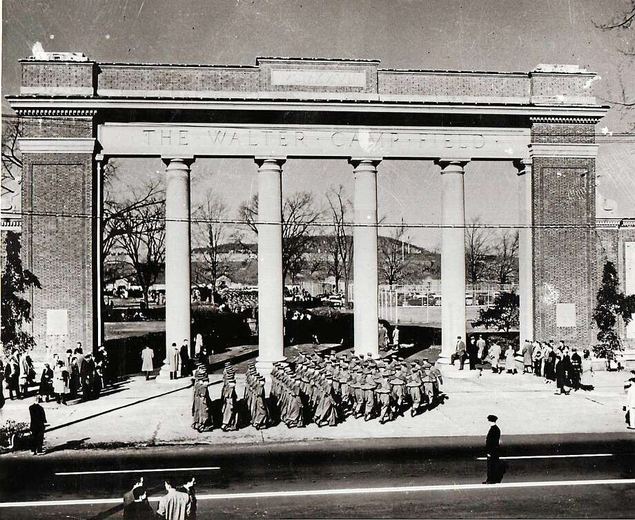 Yale Athletics  Cadets march through the Walter Camp Archway en route to the Yale Bowl Photo: Journal Register Co.
