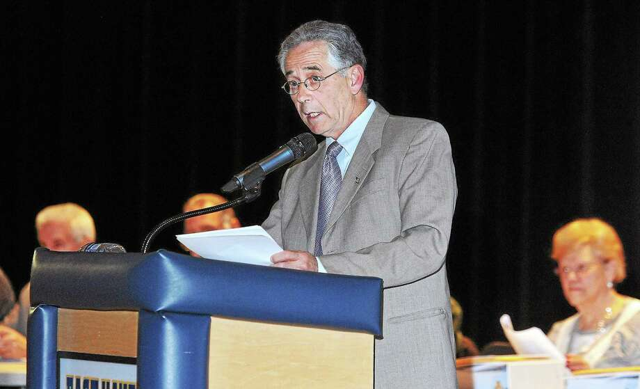 East Haven Mayor Joseph Maturo delivers the State of the Town address at East Haven High School Thursday night. Photo: Peter Casolino — New Haven Register