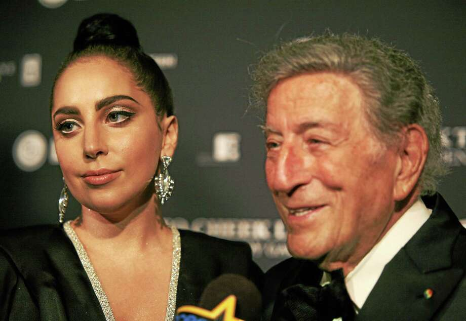 Recording artists Lady Gaga, left, and Tony Bennett, attend a concert taping on July 28, 2014, in New York. Photo: Photo By Andy Kropa/Invision/AP   / AP2014