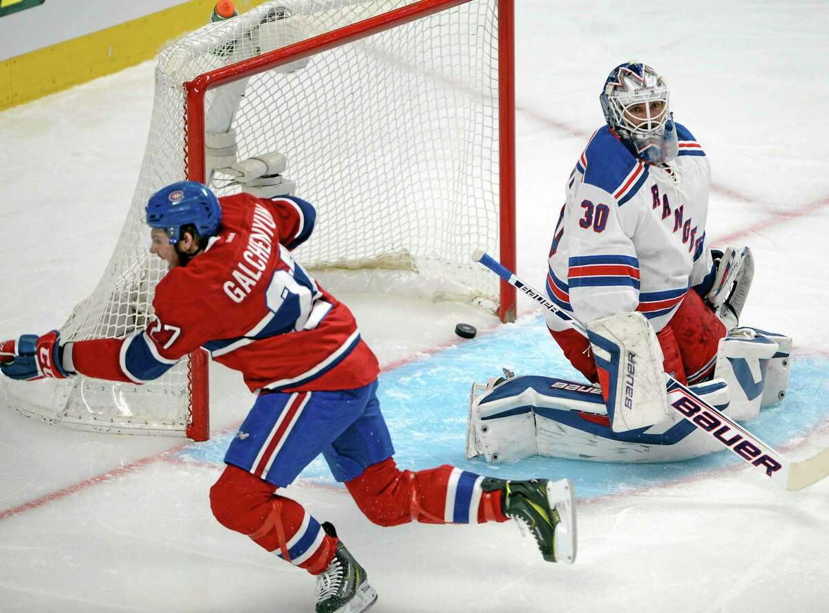 Montreal'sAlex Galchenyuk celebrates after scoring on New York Rangers goalie Henrik Lundqvist during the first period of Game 5 of the Eastern Conference finals, Tuesday. The Canadiens won 7-4.