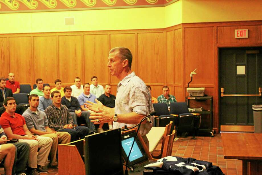 submitted photo of Gen. McChrystal talking to Yale football team. Photo: Journal Register Co.