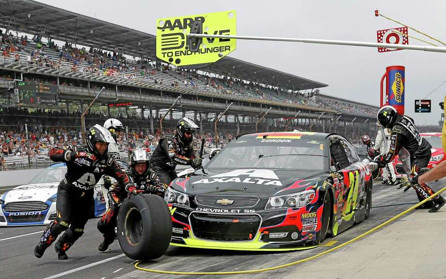 Jeff Gordon pits during the Brickyard 400 at Indianapolis Motor Speedway on Sunday. Photo: Robert Baker — The Associated Press   / FR171214
