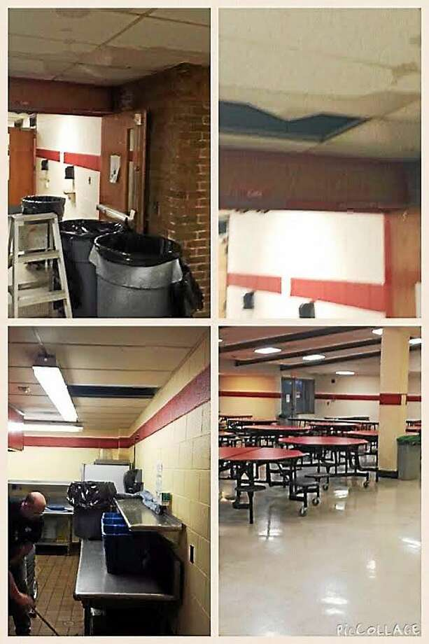 The aftermath of the roof leak at Derby High School. Contributed photo — Jim Gildea Photo: Journal Register Co.