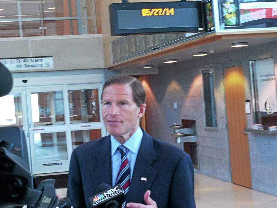 U.S. Sen. Richard Blumenthal, D-Conn., speaks to reporters at the Metro-North train station in West Haven May 27. Photo: Ed Stannard — New Haven Register