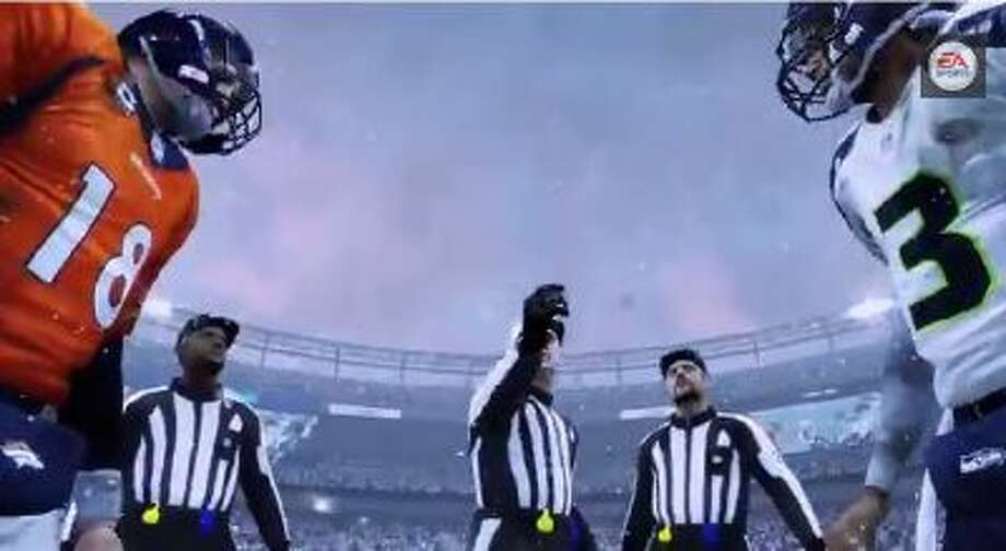 E.A. Sports' Madden NFL 25 predicts that Denver will defeat Seattle in the Super Bowl.