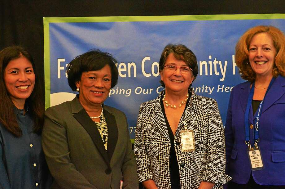 From left, Lynn Basilio, American Cancer Society; New Haven Mayor Toni Harp; Dr. Suzanne Lagarde, CEO, Fair Haven Community Health Center; and Katherine Lewis, deputy commissioner of the state Department of Public Health. Photo: CONTRIBUTED PHOTO