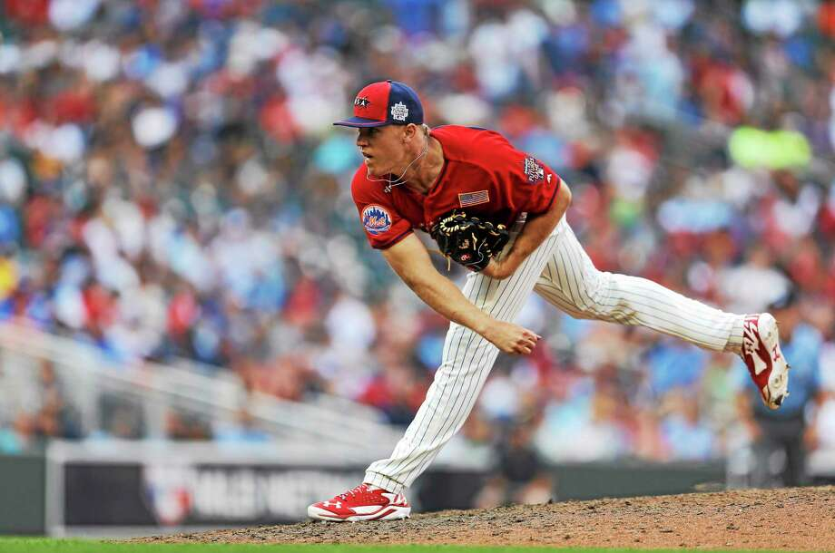Noah Syndergaard throws a pitch during the ninth inning of the All-Star Futures Game on July 13 in Minneapolis. Photo: Jeff Roberson — The Associated Press   / AP