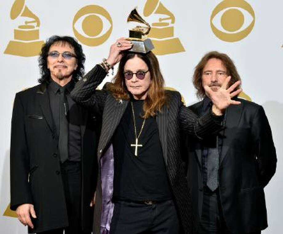 (L-R) Recording artists Tony Iommi, Ozzy Osbourne and Geezer Butler of Black Sabbath pose in the press room during the 56th Grammy Awards at Staples Center on Jan. 26, 2014 in Los Angeles.