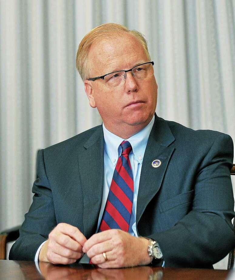 Danbury Mayor Mark Boughton speaks to the New Haven Register Editorial Board. Photo: (Peter Casolino — New Haven Register)
