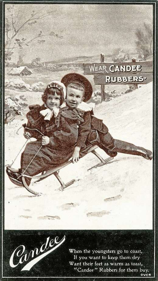 Trade card for the Candee Rubber Company. At its height, this company made nine million pairs of rubber shoes annually.  Photograph, 1896  (Collection of the New Haven Museum) Photo: Journal Register Co.