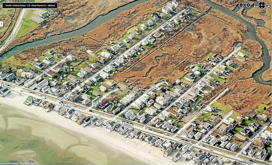 Aerial photo shows Milford's vulnerability to coastal storms. (Courtesy of city of Milford) Photo: Journal Register Co.