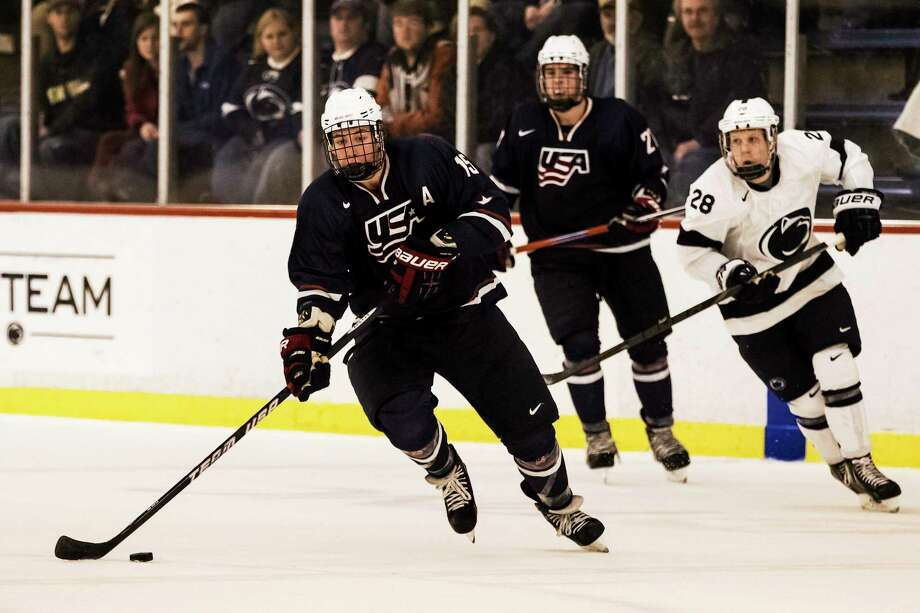 Yale freshman John Hayden, here playing with the U.S. National Under-18 Team against Penn State last January, is the reigning ECAC Hockey player and rookie of the week. The Bulldogs play a pair of games against Brown this weekend. Photo: Cal Sport Media/The Associated Press   / CALSP