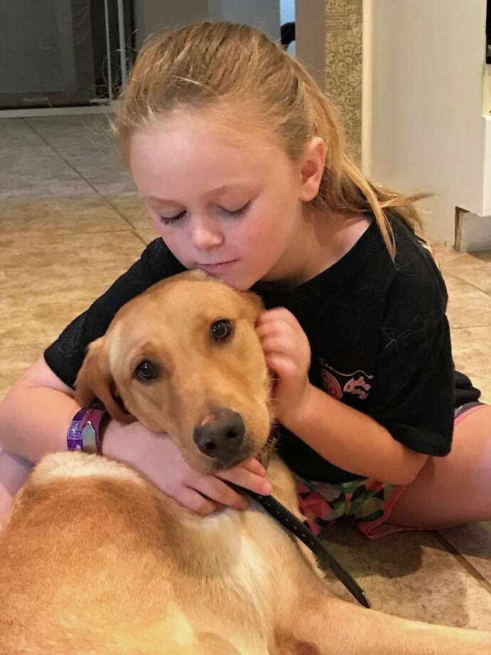 Annslee Barbosa, 8, will be adopting therapy dog Sadie soon to help her monitor her Type 1 diabetes. Photo: Elizabeth Barbosa