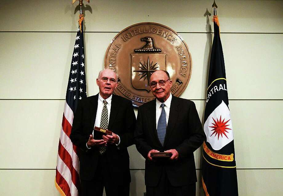 Judge John 'Jack' Downey,  left, and his fellow captive, Richard Fecteau received the highest honor for valor from the Central Intelligence Agency. Photo: Journal Register Co.