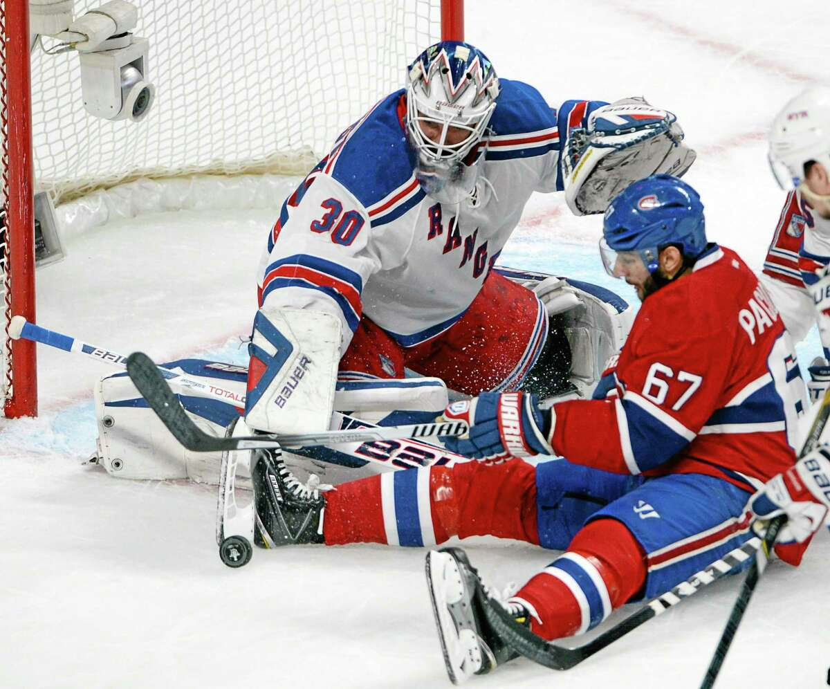 Montreal Canadiens left wing Max Pacioretty is stopped by New York Rangers goalie Henrik Lundqvist (30) during the first period Monday.