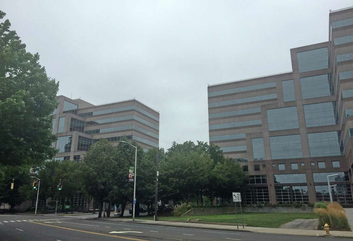 The Stamford Towers office complex on Washington Boulevard in downtown Stamford, which includes the 680 building on the left and 750 building on the right, has sold for approximately $97 million.