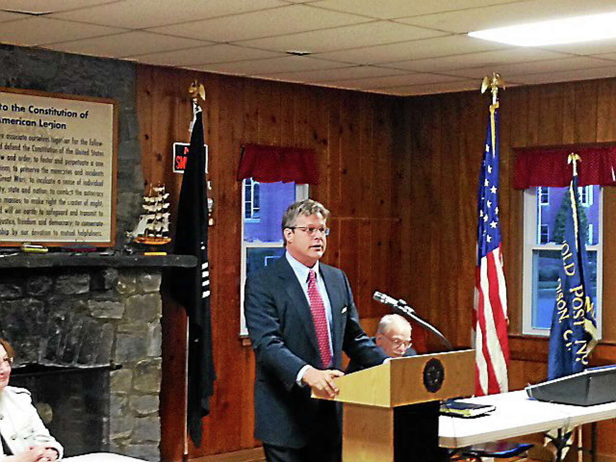 Ted Kennedy Jr. of Branford speaks at the American Legion Hall in Madison Monday.