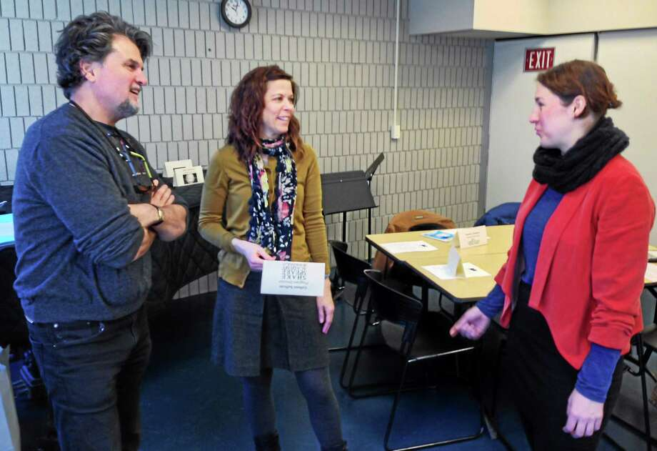 Joe Amarante — New Haven Register  James Andreassi of Elm Shakespeare Company with Colleen Sullivan, center, and Sara Holden of Shakespeare Academy at Stratford. Photo: Journal Register Co.