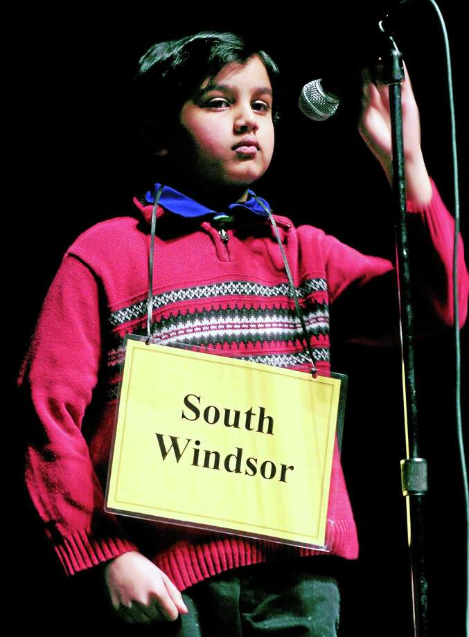 Fifth-grader Keshav Ramesh of South Windsor competes in the New Haven Register Spelling Bee at Southern Connecticut State University Tuesday in New Haven. Photo: Arnold Gold — New Haven Register
