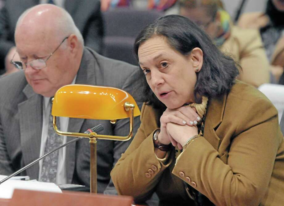 DCF Commissioner Joette Katz and Robert McKeagney, DCF clinical and community consultation administrator, testify at the Legislative Office Building in Hartford. Photo: Mara Lavitt — New Haven Register File Photo