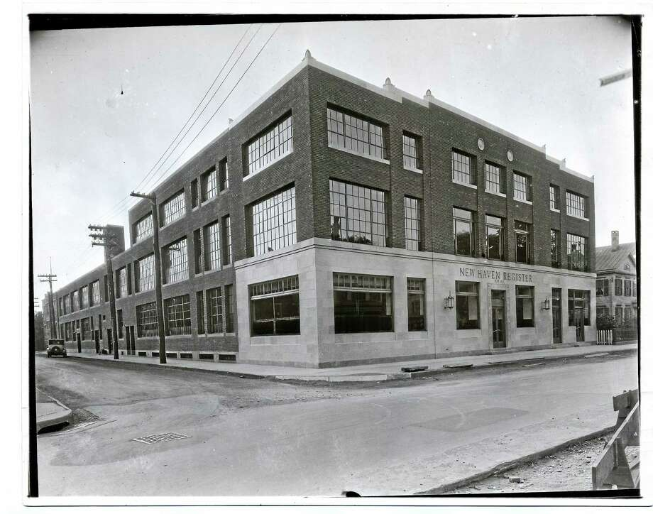 New Haven Register employees enjoyed working out of this funky building at 367 Orange St. — convenient to downtown — until the move to Sargent Drive in May 1981. Photo: Journal Register Co.