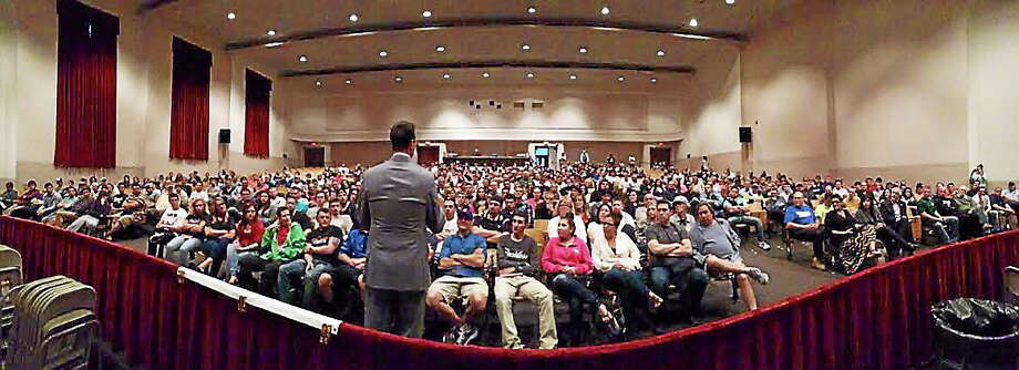 Former NBA player Chris Herren speaks in Milford about drug abuse and prevention. Photo: Glen McDermott — Contributed Photo